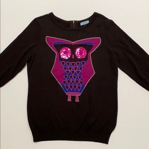 Cynthia Rowley black & purple owl sweater sequins